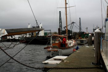 Windjammer Wharf in Lermond Cove, Rockland Maine gives refuge to vessels looking to stay out of Hurricane Sandy's way.